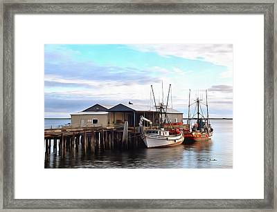 Golden Dolphin Eel Fishing Boat Port Angeles Washington Painting Framed Print by Barbara Snyder