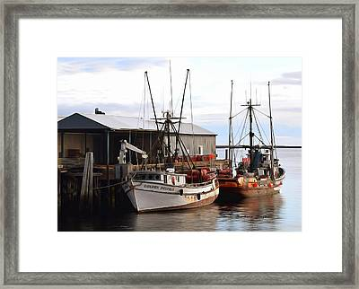 Golden Dolphin Eel Fishing Boat Port Angeles Washington Detail Painting Framed Print by Barbara Snyder