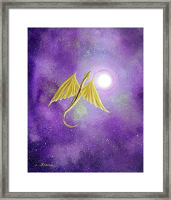 Golden Dragon Soaring In Purple Cosmos Framed Print by Laura Iverson