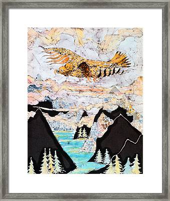 Golden Eagle Flies Above Clouds And Mountains Framed Print by Carol  Law Conklin