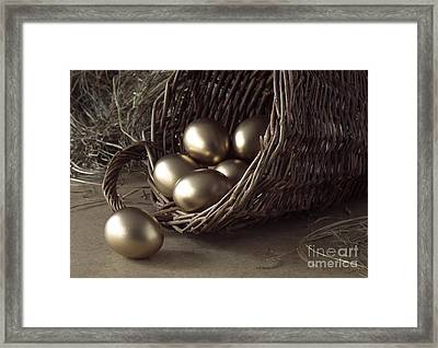 Golden Eggs In Basket Framed Print by Gerard Lacz