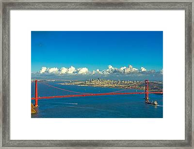 Golden Gate And The City Framed Print by Bill Gallagher