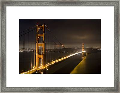 Golden Gate At Night Framed Print by Mike Irwin