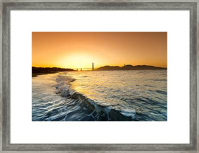 Golden Gate Curl Framed Print by Sean Davey