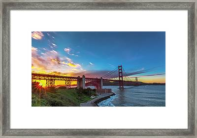 Golden Gate Sunset Framed Print by Phil Fitzgerald
