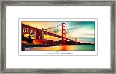 Golden Gate Sunset Poster Print Framed Print by Az Jackson