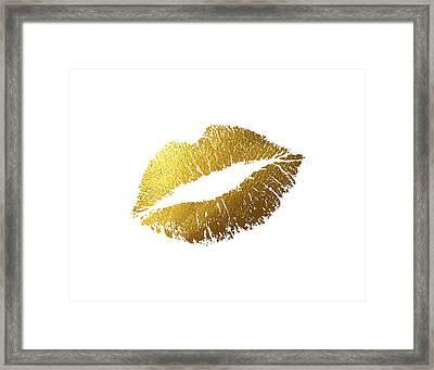 Gold Lips Framed Print by BONB Creative