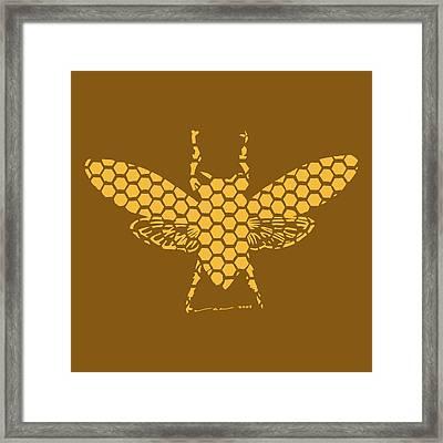 Golden Hex Bee Framed Print by Karl Addison