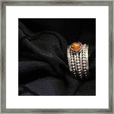 Golden Honey Baltic Amber And Stackable Sterling Silver Bold Rings Framed Print by Nadina Giurgiu