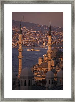 Golden Horn At Sunset From Suleymaniye Framed Print by Richard Nowitz