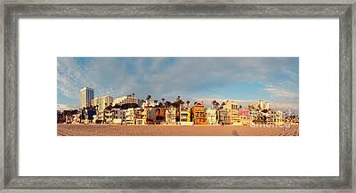 Golden Hour Panorama Of Santa Monica Condos And Bungalows - Los Angeles California Framed Print by Silvio Ligutti