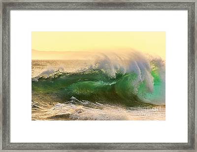 Golden Hour Waves Framed Print by Eddie Yerkish