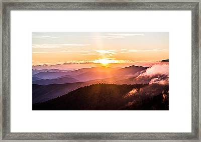 Golden Hues On The Mountain Framed Print by Shelby Young