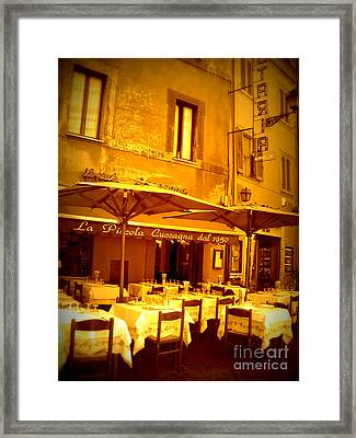 Golden Italian Cafe Framed Print by Carol Groenen