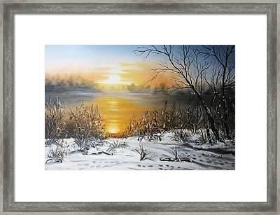 Golden Lake Sunrise  Framed Print by Vesna Martinjak