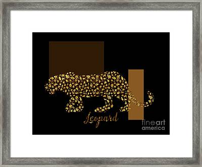 Golden Leopard Modern Gilt Wild Cat, Gold Black Brown Framed Print by Tina Lavoie