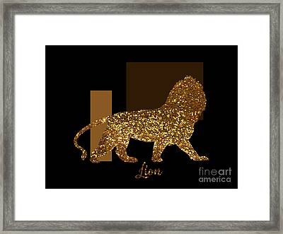 Golden Lion Modern Composition, Gold Black Brown Framed Print by Tina Lavoie