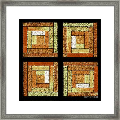 Golden Log Cabin Quilt Square Framed Print by Karen Adams