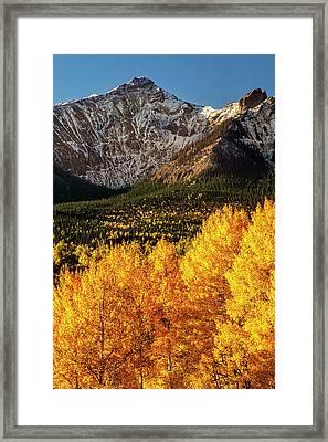 Golden Mountain Scene Framed Print by Andrew Soundarajan