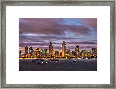 Golden Night In San Diego Framed Print by Peter Tellone