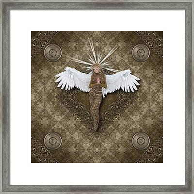 Golden Praying Angel Framed Print by Charm Angels