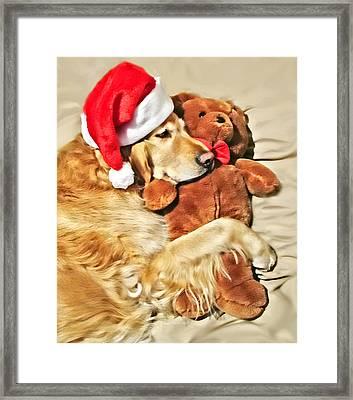 Golden Retriever Dog Christmas Teddy Bear Framed Print by Jennie Marie Schell