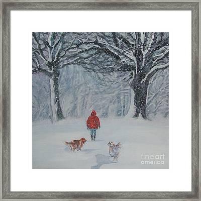 Golden Retriever Winter Walk Framed Print by Lee Ann Shepard