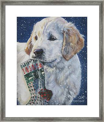 Golden Retriever With Xmas Stocking Framed Print by Lee Ann Shepard