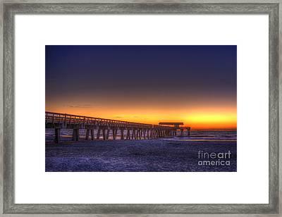 Golden Skies Tybee Island Pier Framed Print by Reid Callaway
