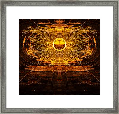 Golden Spinning Sphere Reflection Framed Print by Pelo Blanco Photo