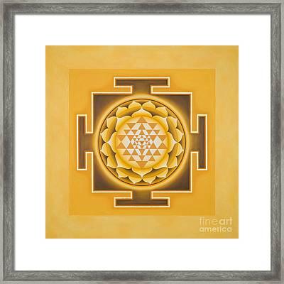 Golden Sri Yantra - The Original Framed Print by Piitaa - Sacred Art