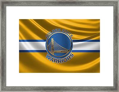 Golden State Warriors - 3 D Badge Over Flag Framed Print by Serge Averbukh