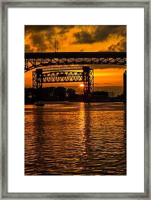 Golden Sunset On The Cuyahoga Framed Print by Dale Kincaid