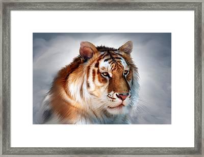 Golden Tiger Framed Print by Julie L Hoddinott