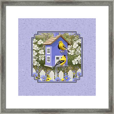 Goldfinch Birdhouse Lavender Framed Print by Crista Forest