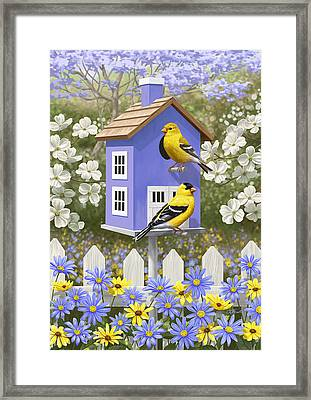 Goldfinch Garden Home Framed Print by Crista Forest