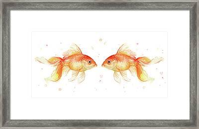 Goldfish Love Watercolor Framed Print by Olga Shvartsur
