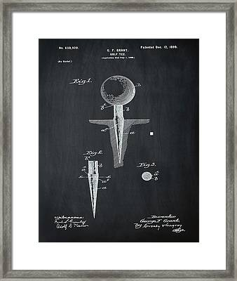 Golf Tee Patent 1899 Chalk Framed Print by Bill Cannon