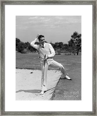 Golfer In Sand Trap, C.1930s Framed Print by H. Armstrong Roberts/ClassicStock