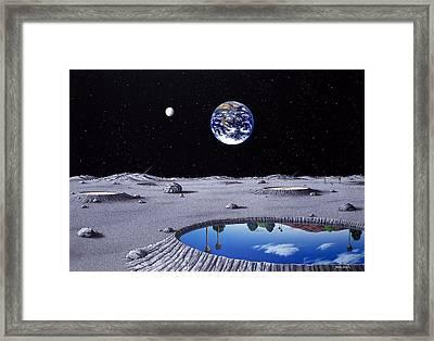 Golfing On The Moon Framed Print by Snake Jagger