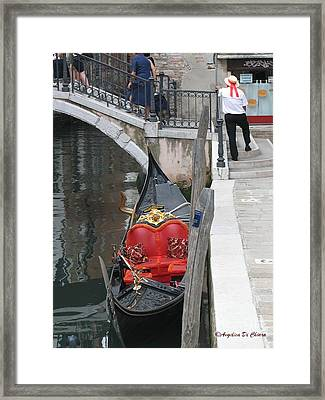 Gondola And Gondolier At Rest In Venice Framed Print by Italian Art