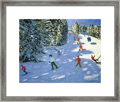 Gondola Austrian Alps Framed Print by Andrew macara