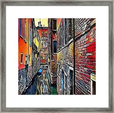 Gondola On Canal In Venice, Italy - My Www Vikinek-art.com Framed Print by Viktor Lebeda