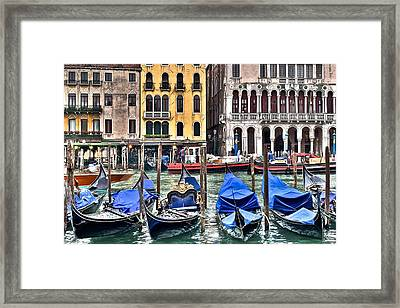 Gondolas On The Grand Canal Framed Print by Frozen in Time Fine Art Photography