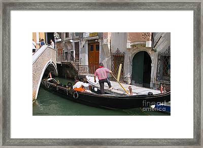 Gondolier By The Bridge- Venice Framed Print by Italian Art
