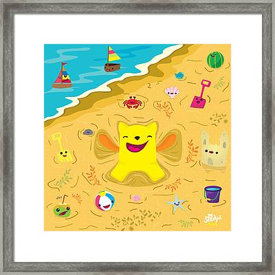 Good Vibes At The Beach Framed Print by Seedys