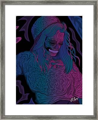Framed Print featuring the drawing Good Vibes Skelegirl by Raphael Lopez
