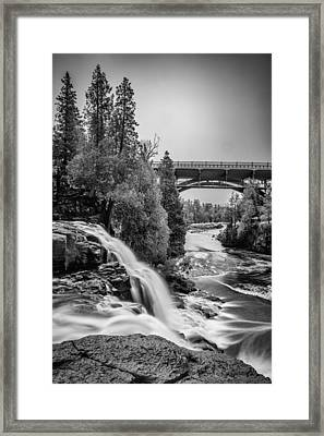 Gooseberry Falls Bridge In Black And White Framed Print by Paul Freidlund