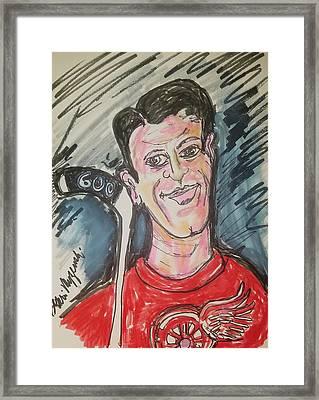 Gordie Howe 600 Goals Framed Print by Geraldine Myszenski