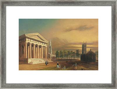 Gothic Church, New Haven Framed Print by William Henry Bartlett